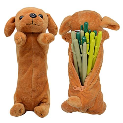 3D Hund Form Bleistift Federbeutel, niedliche weiche Plüschtier Geschenke für Kinder