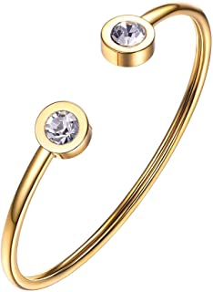 Dainty Gold Bangle Cuff Bracelets for Women 18K Gold Plated Stainless Steel with Simulated Diamond Resizable