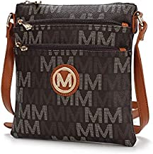 Mia K. Collection Crossbody bag for women - Removable Adjustable Strap - Vegan leather Crossover Designer messenger Purse Brown