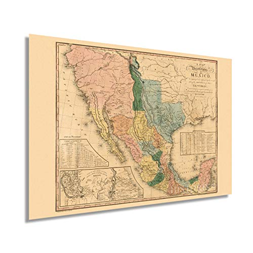 HISTORIX Vintage 1846 United States of Mexico Map Poster - 24x36 Inch Vintage Map of Mexico Wall Art - Old United States of Mexico Wall Map - Mapa de Mexico - Historic Map of Mexico States (2 Sizes)