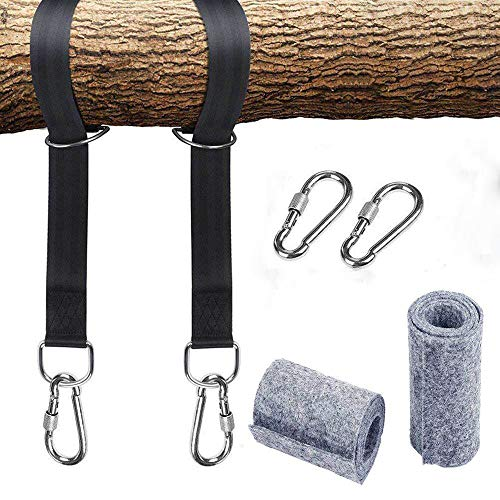 NGwenyicanI Hammock attachment swing suspension harness kit with 2 heavy duty carabiners and D-rings, holds up to 550 kg with storage bag, tree protection pad