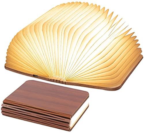 Lámpara de libro LED plegable de madera, lámpara de libro USB recargable para artículos del hogar decoración, Decorativa lámpara de mesa para regalos de cumpleaños y Navidad