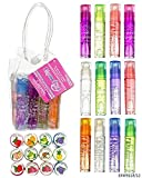 Expressions Kids Teen Girls Ladies & Womens 12 Piece Roll On Lip Gloss Set in Carrying Case, Fruity Flavors Party favor, great for ages 6 and up, fresh lip glaze transparent colorless moisturizing lip lotion, lip oil gloss liquid lipstick can keep your lips moisturized and plumper for a long time,lip care,