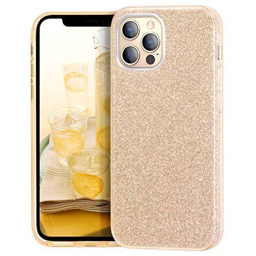 MATEPROX Glitzer Handyhülle Kompatibel mit iPhone 12 Pro Hülle/iPhone 12 Hülle, Kratzfest Dünn Slim Bling Schutzhülle für iPhone 12 Pro/iPhone 12 6.1'' 2020-Gold