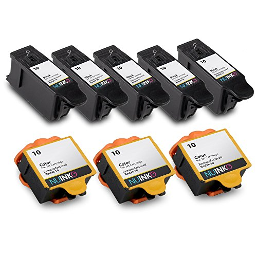 NUINKO 8 Pack Compatible Kodak 10 Ink Cartridges Black and Color for Kodak ESP 3250 ESP 5250 ESP 7250 ESP 3 ESP 5210 HERO 7.1 HERO 9.1 EasyShare 5300 Inkjet Printers