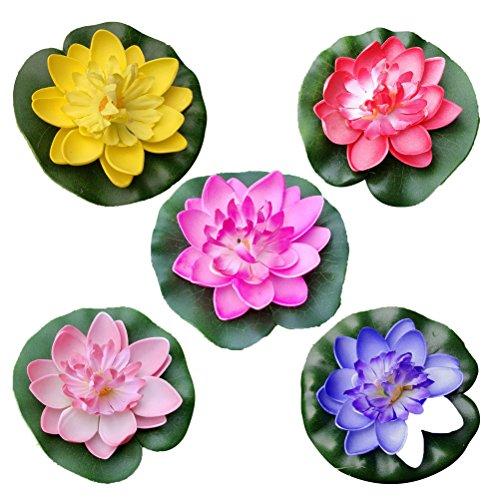 VORCOOL 5 stücke MiniArtificial Schwimmende Seerose Eva Lotus Blume Teich Dekoration-10 cm (Rot/Gelb / Blau/Rosa / Hellrosa)
