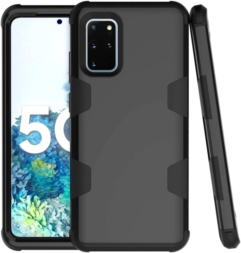 Phone Case for Samsung Galaxy S20 Glaxay S 20 5G 6.2 inch Slim Hybrid Shockproof Silicone Rubber TPU Heavy Duty Hard Protective Cell Accessories Gaxaly 20S G5 Cases Three Layer Women Girls Men Black