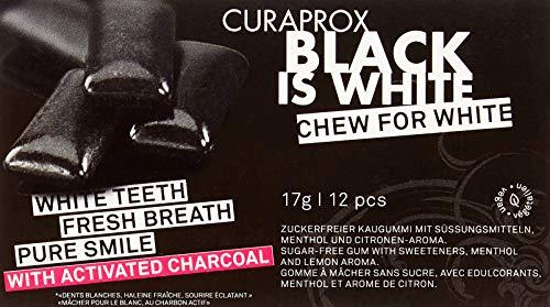 CURAPROX Black is White - schwarzer Zahnpflegekaugummi für weiße Zähne und einen frischen Atem, mit whitening effect der Aktivkohle, veganer Kaugummi