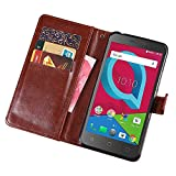 Alcatel IdealXCITE / Verso / CameoX 5044R /Raven LTE A574BL Case, Alcatel U50 5044S Case, Telegaming Retro Oil Wax Leather Wallet Flip Case With Card Slots Pouch Phone Holder Back Stand Cover Wine Red