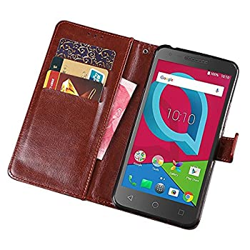 Telegaming Alcatel IdealXCITE/Verso/CameoX 5044R /Raven LTE A574BL Case Alcatel U50 5044S Case Retro Oil Wax Leather Wallet Flip Case with Card Slots Pouch Phone Holder Back Stand Cover Brown
