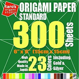 [Standard 300 Made in Japan] Taro's Origami Studio Premium Japanese Origami Paper (6 inch, 300 Sheets, Single Side 23 Colors Including Gold and Silver)