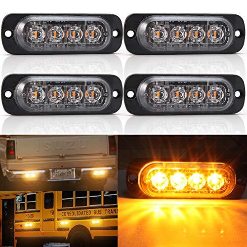 L-E-D kühlergrill Beleuchtung,4 SMD Warnblinklicht Blitzer Leuchte Stroboskop Warnlicht Bernstein Universal für 12-24 V Caravan Reisemobil