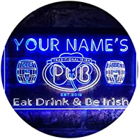 Personalized Your Name Est Year Theme Irish Pub Dual Color LED看板 ネオンプレート サイン 標識 白色 + 青色 400 x 300mm st6s43-pa1-tm-wb
