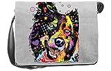 Hunde/Umhängetasche/Tasche-Vintagelook mit Dog-Neon-Druck: Border Collie für Hundefreunde