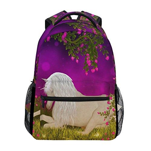 ZZKKO - Mochilas de unicornio con diseño floral, para escuela, viajes, senderismo, acampada