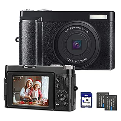 Digital Camera YouTube Camera for Vlogging HD 1080P Video Camcorder Vlogs Camera with WiFi, Webcam Function, 3'' IPS Screen, 32GB SD Card, 2xBatteries by DGVDO