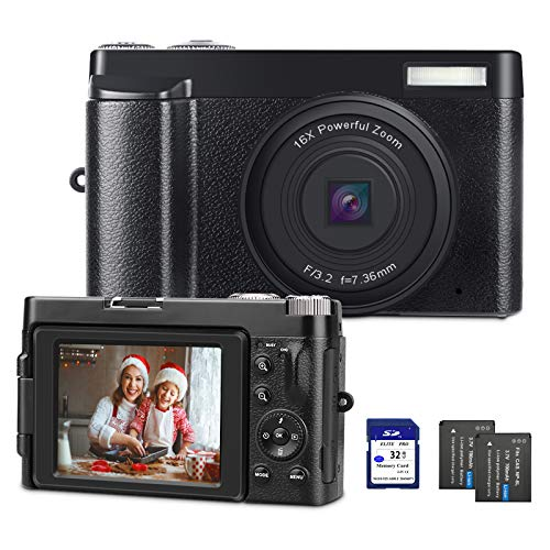 Digital Camera YouTube Camera for Vlogging HD 1080P Video Camcorder Vlogs Camera with WiFi, Webcam Function, 3'' IPS Screen, 32GB SD Card, 2xBatteries
