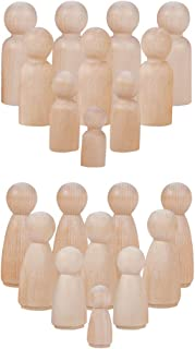 PandaHall Elite 48 Pieces Unfinished Wood Peg Doll Bodies Wooden People Decorations 8 Styles for Arts and Crafts, Male and Female