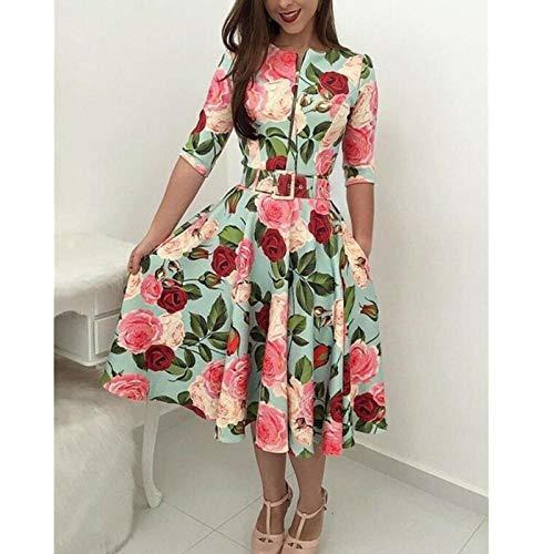 Vestidos De Fiesta Vestir Dress Mujer Niña Vestido Midi Elegante De Cintura Alta con Estampado Floral De Fiesta Informal Vintage con Cuello Redondo Y Manga Larga para Mujer