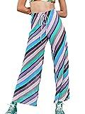 Pantalones de punto de cintura alta y pierna ancha para mujer, cómodos, elásticos, con cordón, palazzo, azul, L