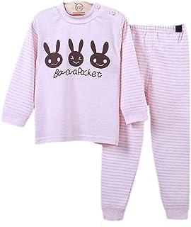 Muzboo - Juego de pijamas de 2 piezas, diseño de rayas de dibujos animados 100% algodón