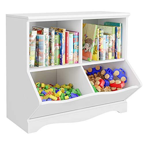 HOMECHO Kinderregal Bücherregal für Kinder, Spielzeug Organizer mit 2 Fächern und 2 Ablagen, Aufbewahrung Schrank Standregal für Kinderzimmer Schlafzimmer Kindergarten Schule, weiß, 67×40×61.5 cm