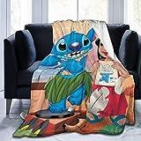 XCVD Mantas de Felpa con diseño de Lilo Stitch de Dibujos Animados, Ultra Suave, cálida, acogedora, de Felpa, Franela antipilling, para Todas Las Estaciones, para sofá Cama, sofá de 80 '' X60