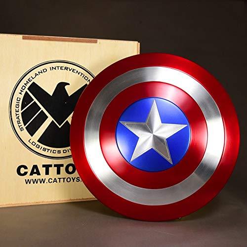 The Avengers Marvel Captain America Costume Bouclier en Métal Adulte Taille Unique Accessoires de Film 1: 1(Boîte d'emballage en bois)