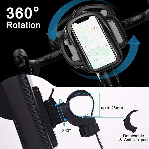LEMEGO-Bolsa-Bicicleta-Manillar-para-Ciclista-Ciclismo-Bolso-de-Bici-Impermeables-Soporte-Movil-Telefono-para-Telefonos-Moviles-Inferior-de-65-Inches