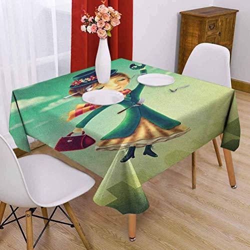 Hohun Fantasía Elegante Mantel Cuadrado Dibujos Animados Cuento de Hadas Niñera con Paraguas mágico y Bolsa Volando sobre el Horizonte de Londres Uso Diario Multicolor