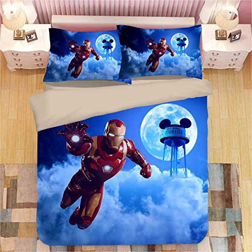 Evvaceo 3D Printed Bedding Set For Children Teens Movie Characters 220 Cm X 230 Cm Duvet Cover Set With 2 Pillowcases Microfiber Quilt Cover With Zipper Closure Double (king)