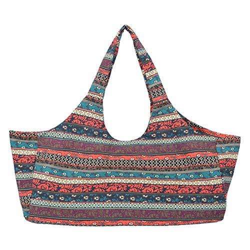 JLDUP Gran capacidad para mujeres y hombres, portátil, bohemio, estilo étnico, impresión, bolsa de yoga, bolsa de yoga todo en uno, bolsa con bolsillos (rojo1)
