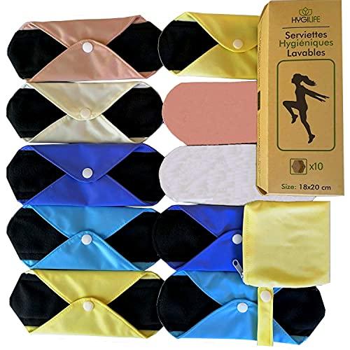 Serviettes Hygiéniques Lavables pour flux moyen et petit  10 Protège slips Menstruels Réutilisables  PME familiale