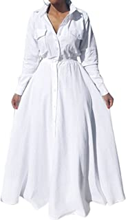 Enggras Women's Button Down Pleated Long Sleeve Party Cocktail Long Maxi White Shirt Dress