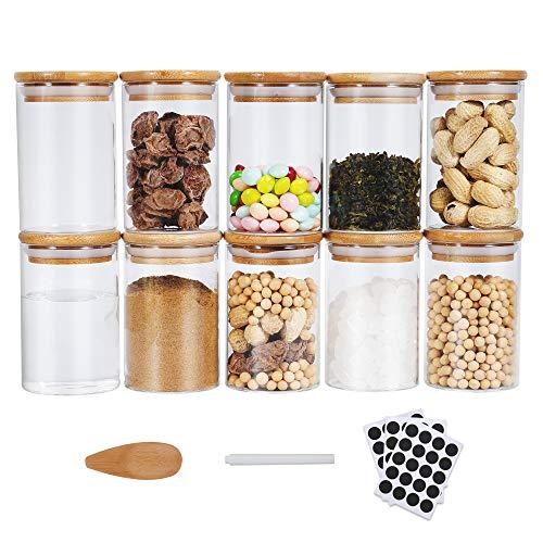 Funxim Tarros de Vidrio de Almacenamiento, Tarros de Cristal con Tapa 10 Pcs 270 ml Recipientes Organizador con Tapa Botes Cristal Cocina Tarro Cristal Hermetico para Especias, Cereales, azúcar, té