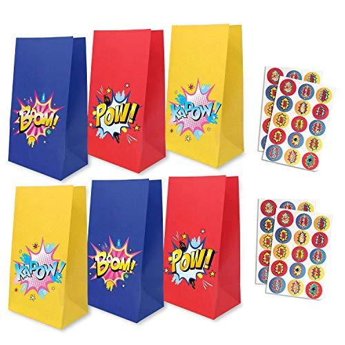24 Paquetes de Superhero Party Goodie Bags con 30 Pegatinas de Superhero Theme, Favor de los Bolsos Bolsas de Dulces Bolsas de Regalo Bolsas de Regalo para niños y niñas Fiesta de cumpleaños