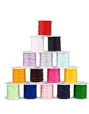 PandaHall 15 Colori 15 Rolls Hilo de Nylon para Hilo para trenzar Pulseras Collares bisuteria Nudo Chino Hilo para enfilar Abalorios Manualidades DIY 0.8mm