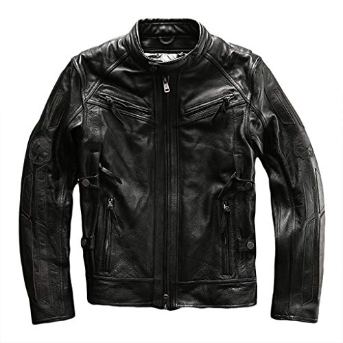 Mens Chopper Harley Motorfiets-echt lederen jas heren zwart Top Racing Biker Coat Outdoor motor-schedel-jas Slim-Fit Leger