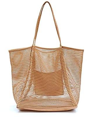 Mesh Beach Canvas Tote Womens Shoulder Handbag (Tan)