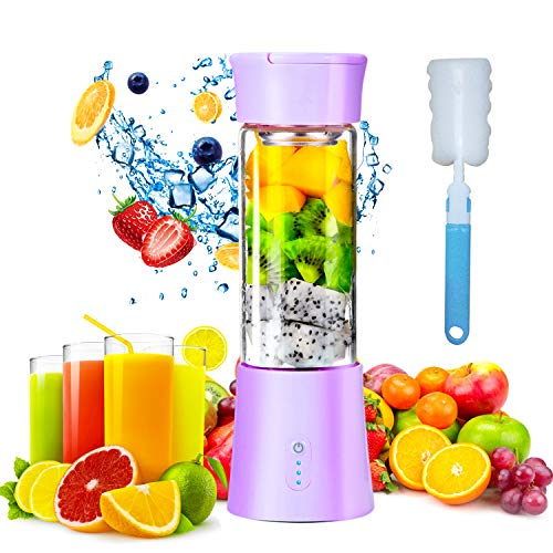 Mini Portable Blender, USB Rechargeable Electric Juice Extractor Machines, 380ml Personal Size Baby Food Smoothie Milkshake Maker Fruit Mixer Juicer Bottle Cup Perfect for Home & Travel Purple