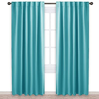 NICETOWN Window Treatment Solid Blackout Curtains - (Turquoise Blue Color) 52x84 Inch, 2 Panels, Blackout Drapery Panels for Kids Bedroom