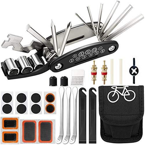 Kit Attrezzi per Bici, 16 in 1 Multifunzione Mountain Bike Accessori per Attrezzi, Set di Strumenti per la Riparazione della Bicicletta con Kit di Toppe e Leve per Pneumatici