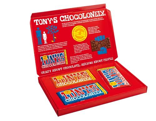 Tony's Chocolonely – Cadeaudoos 3 Chocoladerepen – 1x Melk Karamel Zeezout, 1x Melk, 1x Puur Amandel Zeezout – Giftset…
