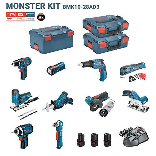 BOSCH Kit 12V BMK10-28AD3 (GSR 12V-15 + GDR 12V-10+ GKS 12V-26 + GWS 12V-76 + GST 12V-70 + GOP 12V-28 + GSA 12V-14 + GWB 12V-10 + GLI 12V-80 + GTB 12V-11)