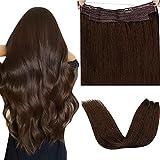 Extensiones Pelo Natural Hilo Invisible,LaaVoo 14 Pulgadas/35cm Hilo Hair Extensions #4 Marron Remy Extensiones Hilo on...