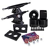 Cal 7 Longboard Skateboard Combo Package with 70mm Wheels & 180mm Lightweight Aluminum Trucks, Bearings Complete Set & Steel Hardware (Black Truck + Solid Black Wheels)