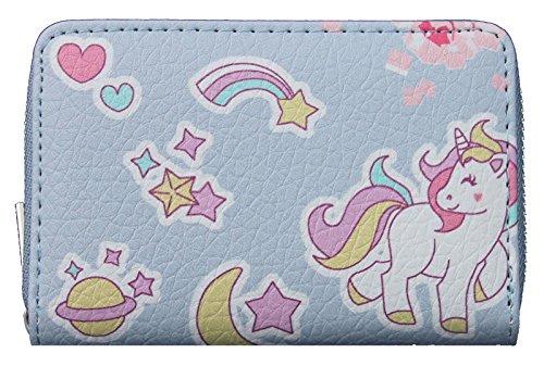 Kindergeldbörse Einhorn hellblau Unicorn Geldbörse niedliches Portemonnaie für Mädchen