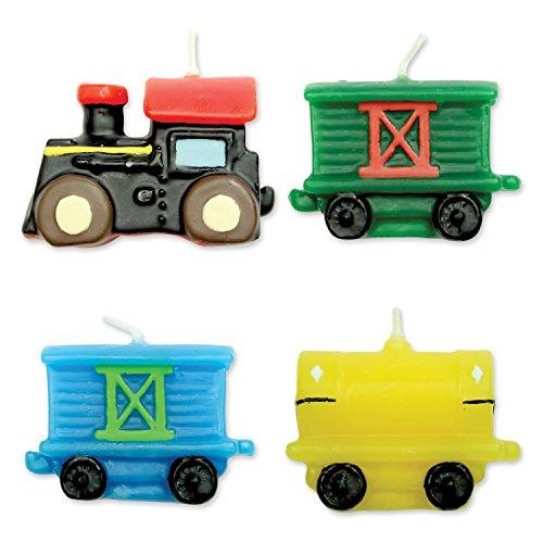 PME CA007 Kerzen mit Eisenbahnmotiv, Sortiment, 4-teilig, Kunststoff, Multicolored, 4 x 1.5 x 4 cm