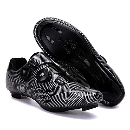 Zapatos de ciclismo de carretera SPD/SPD-SL compatible doble trinquete MTB Tacos ejercicio ciclismo transpirable estable cómodo zapatos Rider Riding Sneaker, color Gris, talla 43.5 EU