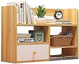 Organizador de Escritorio con Bandeja - Estantería de Madera con cajón de Almacenamiento - Estante de Escritorio de Madera para estanterías de encimera de Oficina y Cocina (Color: Blanco)-Nogal c